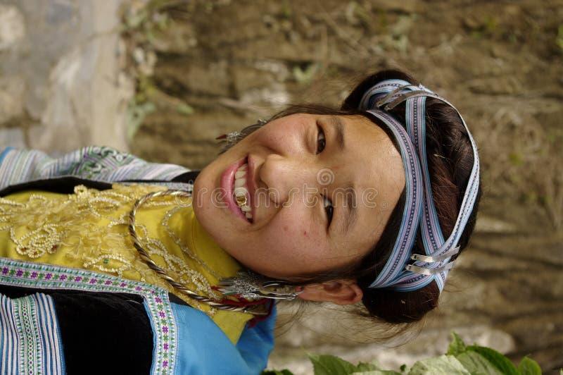 Het Blauw van het Meisje van Hmong stock afbeelding