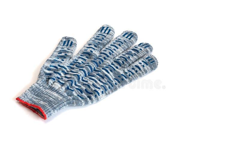 Het blauw van het werkhandschoenen op een witte achtergrond stock afbeelding