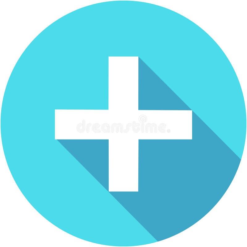 Het blauw voegt plus pictogram in vlakke stijl met lange schaduw toe stock illustratie