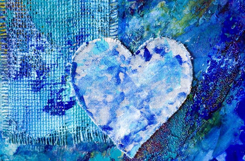 Het blauwe abstracte schilderen met hij royalty-vrije illustratie