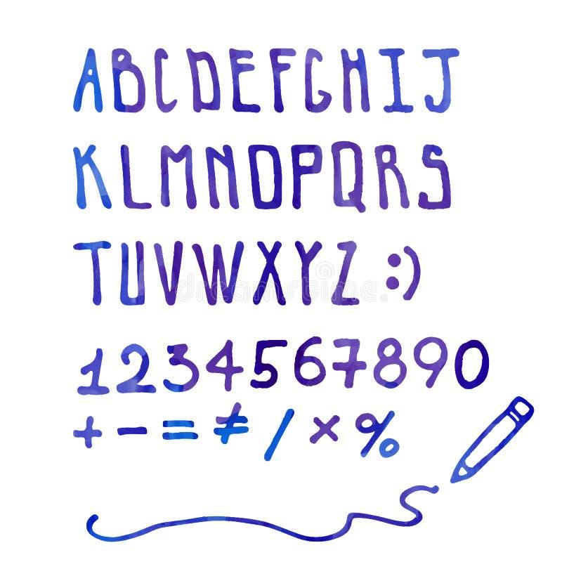 Het blauwe alfabet van de waterverf met de hand geschreven vectorkrabbel stock illustratie