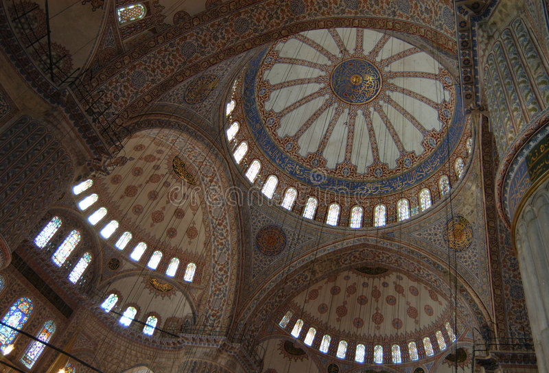 Het blauwe Binnenland van de Moskee stock afbeelding