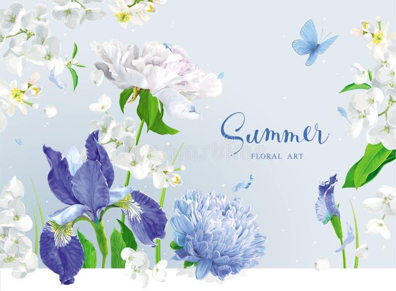 Het blauwe boeket van de zomerbloemen royalty-vrije illustratie