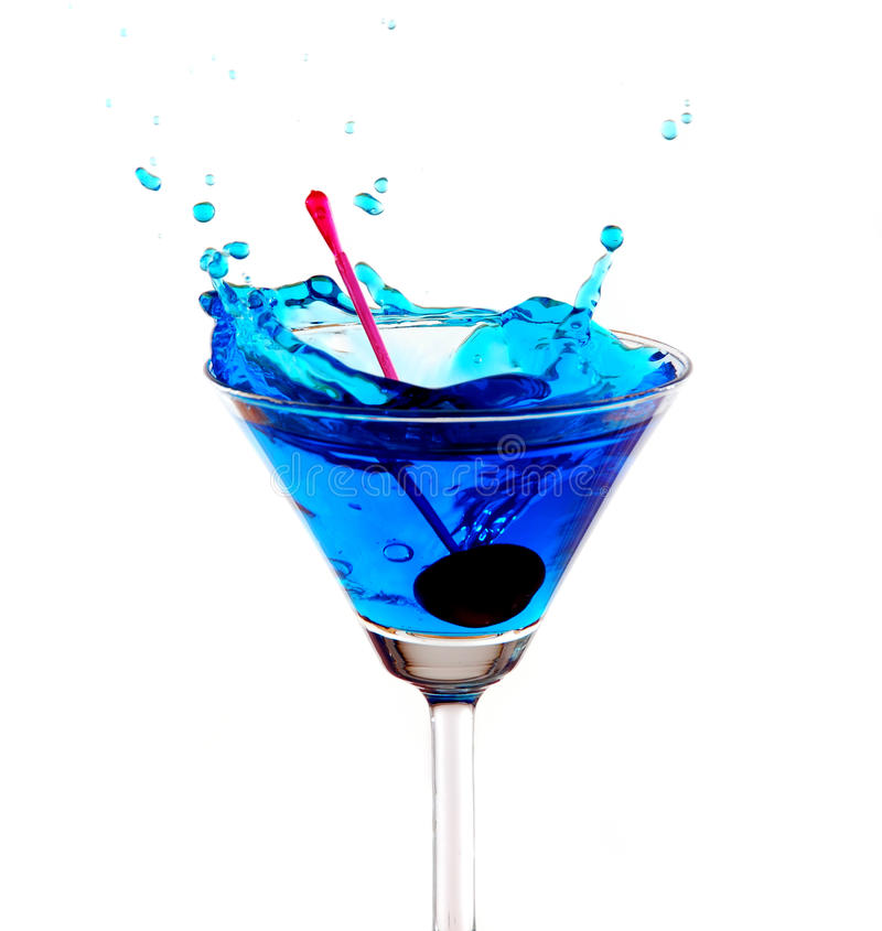 Het blauwe cocktail bespatten royalty-vrije stock afbeeldingen