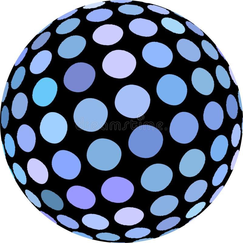 Het blauwe 3d macro geïsoleerde voorwerp van de mozaïekbal vector illustratie