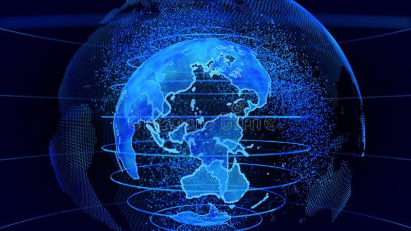 Het blauwe 3D teruggeven van aardetechnologie, zaken en communicatie achtergrond vector illustratie