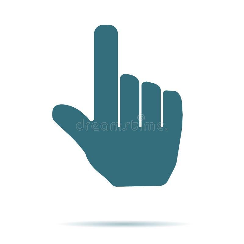 Het blauwe die pictogram van de Handcurseur op achtergrond wordt geïsoleerd Modern vlak pictogram, zaken, marketing, Internet c stock illustratie