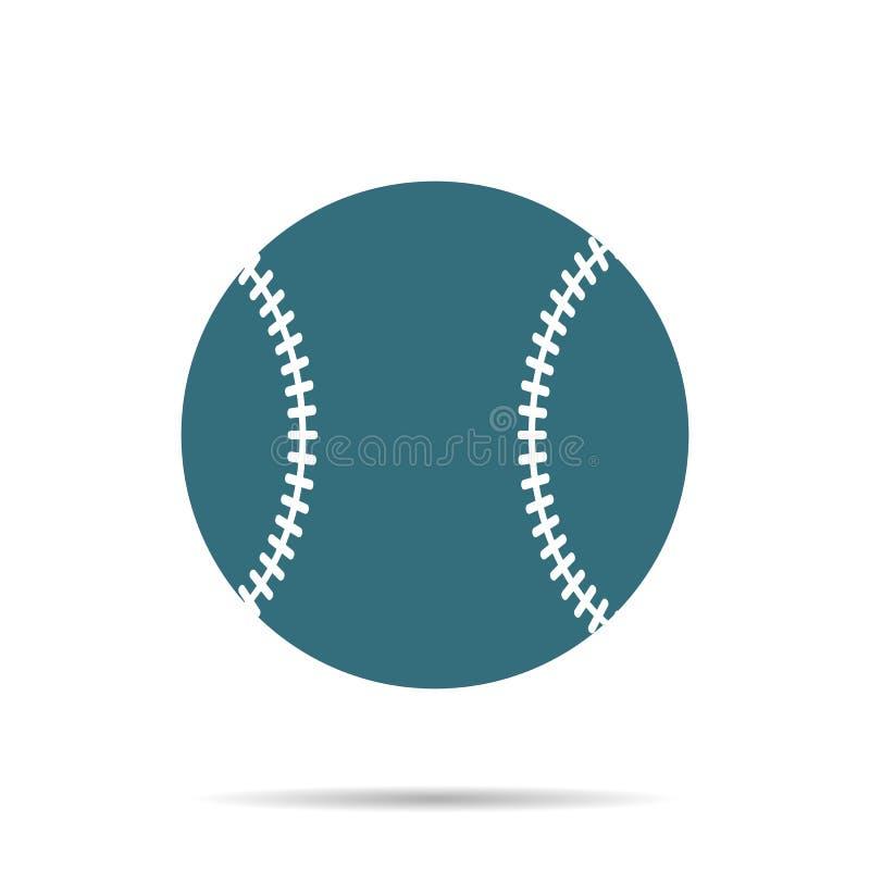 Het blauwe die pictogram van de Honkbalbal op achtergrond wordt geïsoleerd Modern eenvoudig vlak softballteken Sport, mede Intern royalty-vrije illustratie
