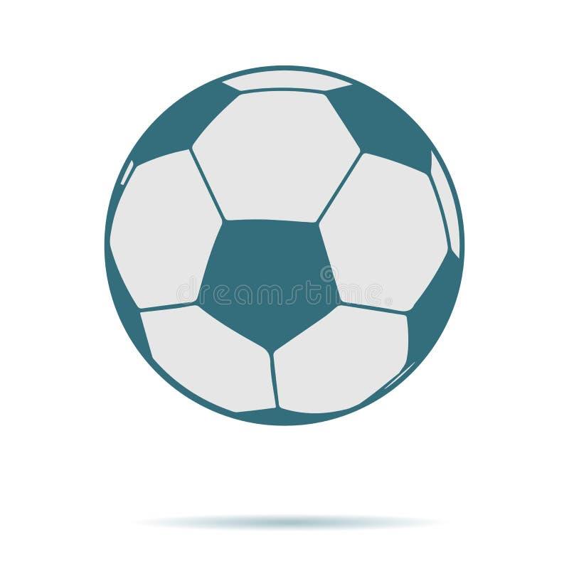 Het blauwe die pictogram van de Voetbalbal op achtergrond wordt geïsoleerd Modern vlak pictogram, zaken, marketing, Internet c royalty-vrije illustratie