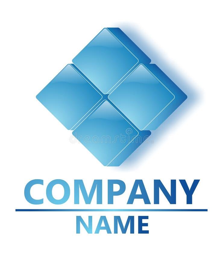 Het blauwe embleem van het glasbedrijf stock afbeelding