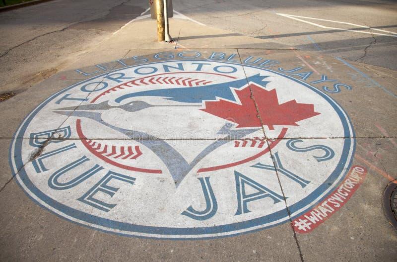 Het blauwe embleem van het Vlaamse gaai` s honkbal, Toronto Foto gevergd 01 November, 2016 royalty-vrije stock foto's
