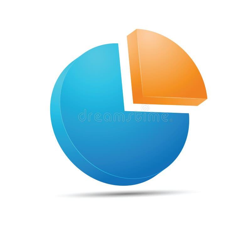 Het blauwe en oranje pictogram van de Cirkelgrafiek royalty-vrije illustratie