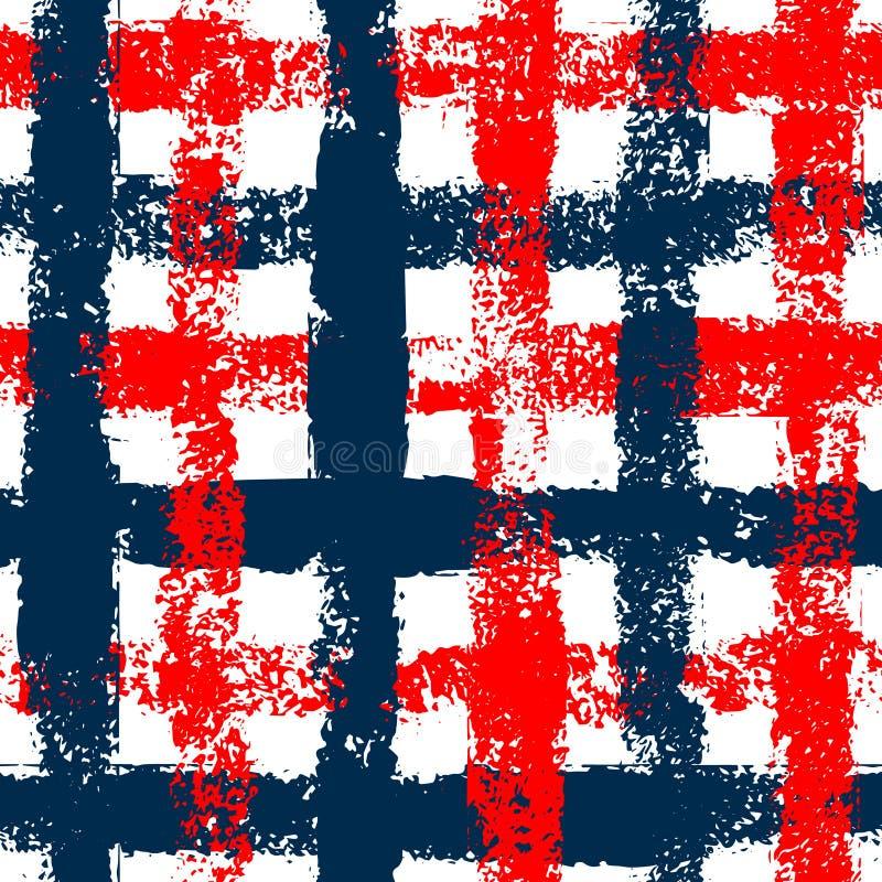 Het blauwe en rode geruite naadloze patroon van de grungegingang, vector royalty-vrije illustratie