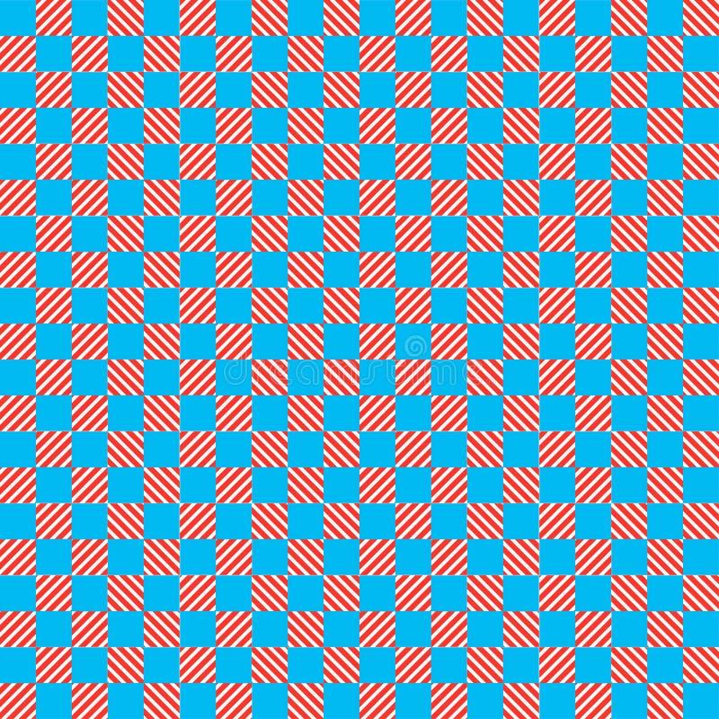 Het blauwe en rode patroon van het textuurschaak royalty-vrije illustratie