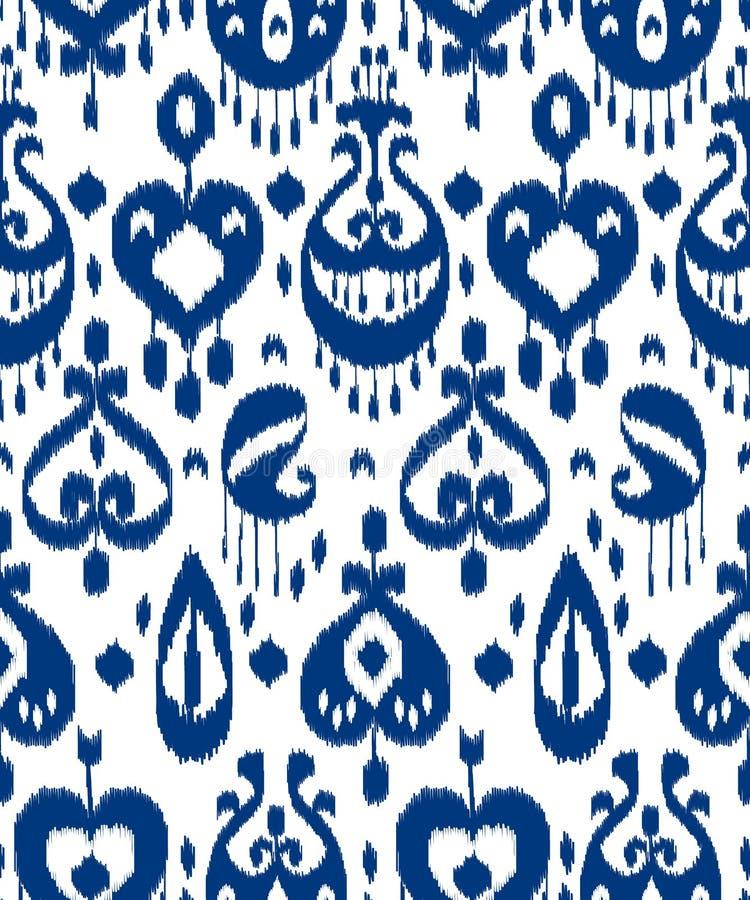 Het blauwe en witte naadloze patroon van de ikat Aziatische traditionele stof, vector stock illustratie