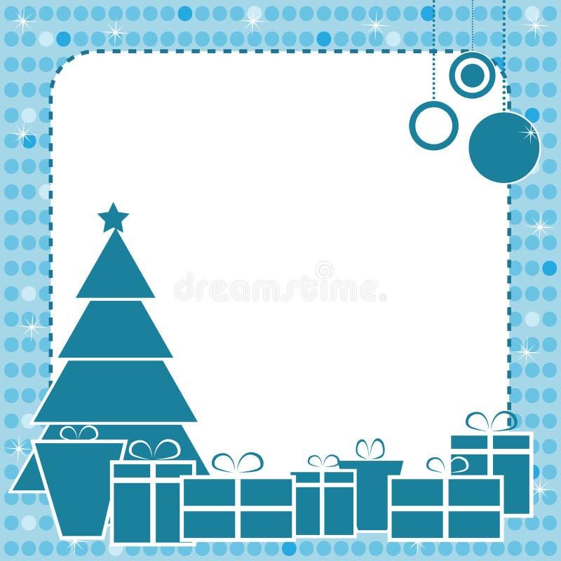 Het blauwe frame van Kerstmis stock illustratie