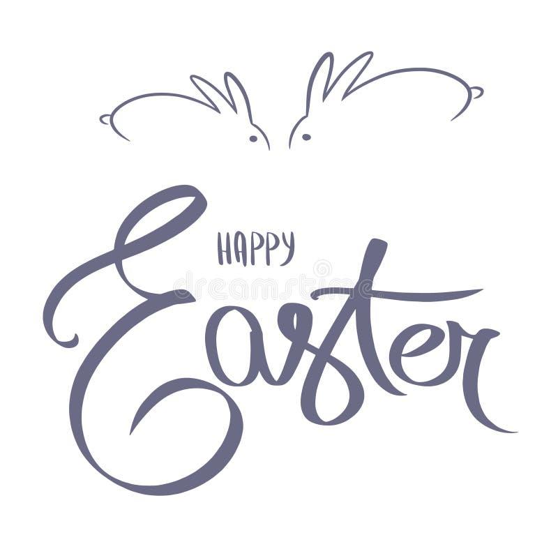 Het blauwe gelukkige Pasen-dag eenvoudige van letters voorzien Kalligrafieprentbriefkaar of van letters voorziende element van he stock illustratie