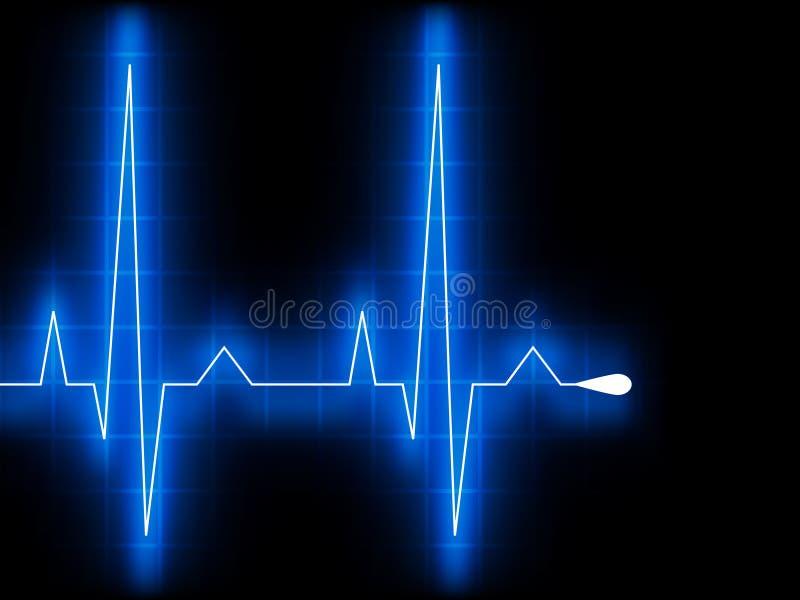 Het blauwe hart sloeg. De grafiek van Ekg. EPS 8 vector illustratie