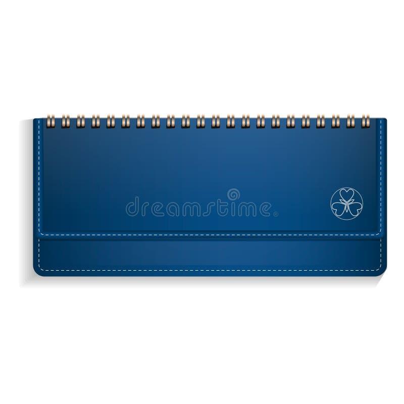 Het blauwe horizontale pictogram van het notaboek, realistische stijl stock illustratie