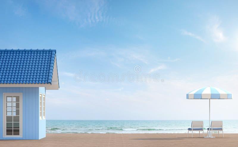 Het blauwe huis door het 3d overzees geeft terug vector illustratie