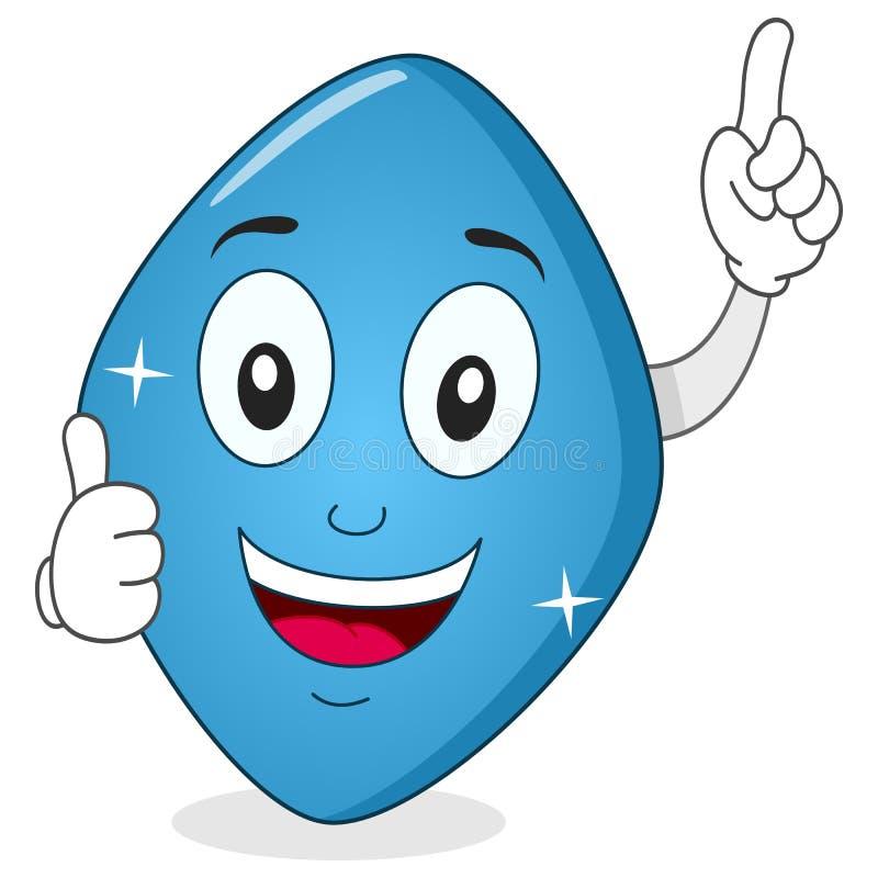 Het blauwe Karakter van Pillenviagra met omhoog Duimen vector illustratie