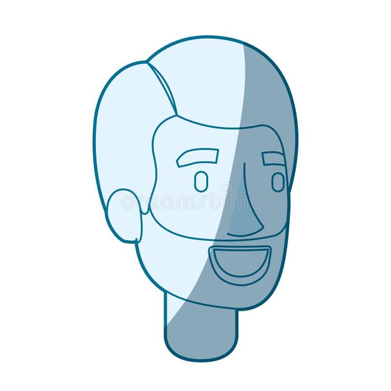 Het blauwe kleurensilhouet in de schaduw stellen van gebaard mensengezicht met zijhaar vector illustratie