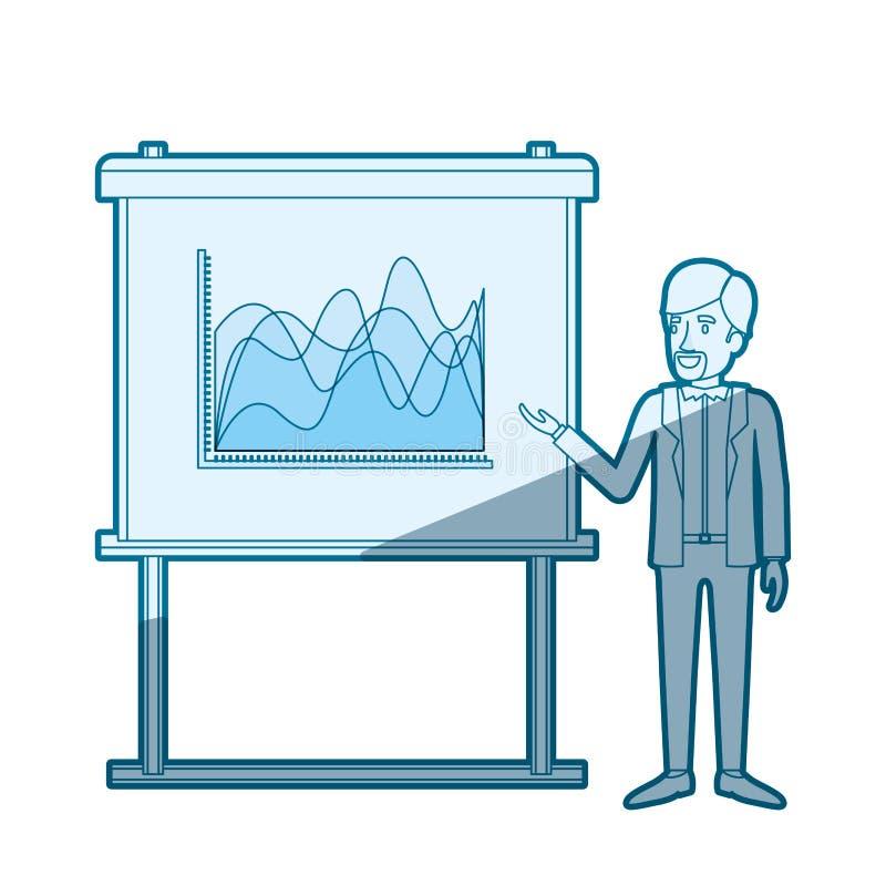 Het blauwe kleurensilhouet in de schaduw stellen van zakenman gebaard in formeel kostuum die presentatie maken vector illustratie
