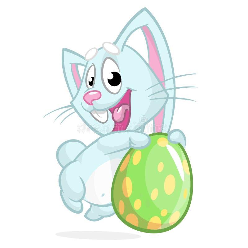 Het blauwe konijntje van Pasen met Pasen gekleurd ei Vectorillustratie van een blauw gekleurd ei van de konijnholding Pasen vector illustratie