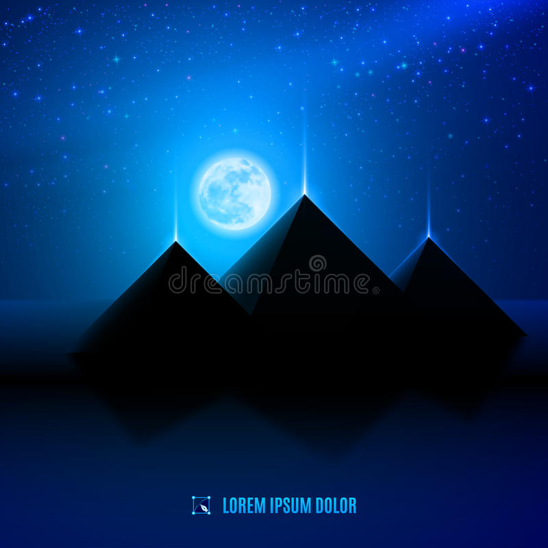 Het blauwe landschap van de nachtwoestijn stock illustratie