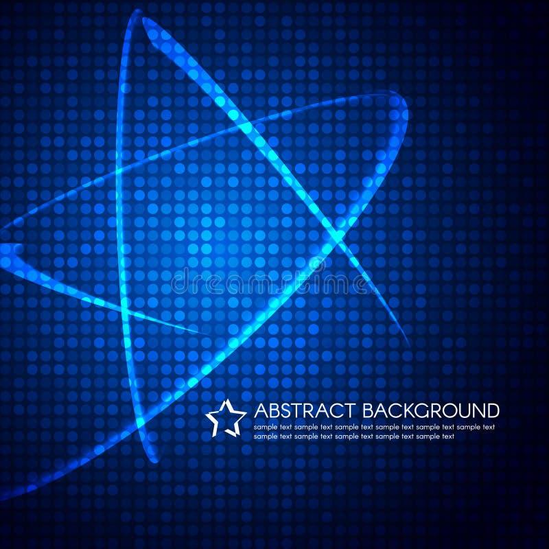 Het blauwe licht van de Sterlijn op de vectorachtergrond van de bellenpunt stock illustratie