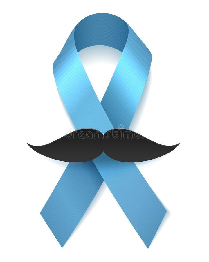 Het blauwe lint van de mensengezondheid met snor royalty-vrije illustratie