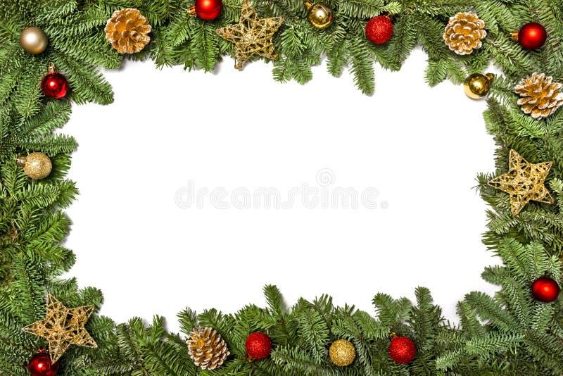 Het blauwe magische frame van Kerstmis Kerstman Klaus, hemel, vorst, zak Nieuwjaar` s groeten Kader met takken van een Kerstboom royalty-vrije stock afbeelding