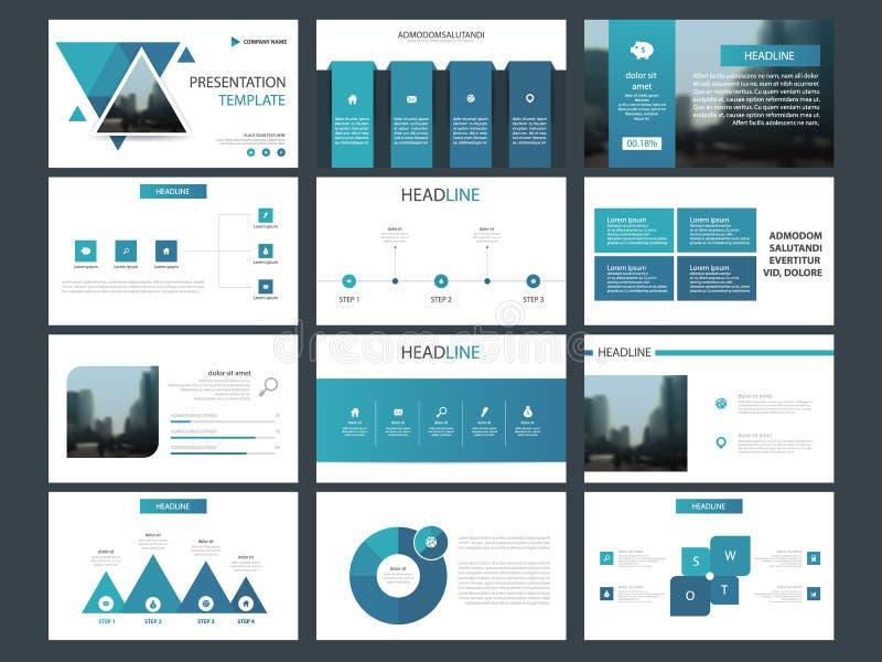 Het blauwe malplaatje van de de elementenpresentatie van de driehoeksbundel infographic bedrijfs jaarverslag, brochure, pamflet,