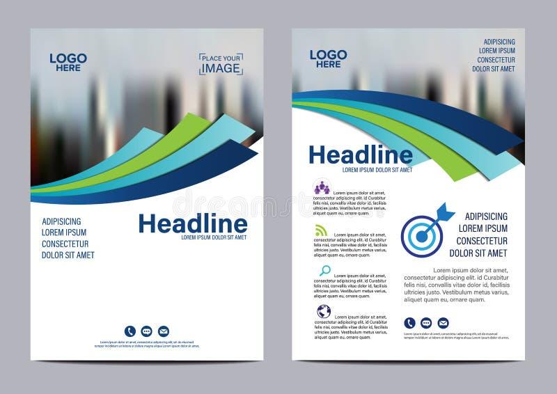 Het blauwe malplaatje van het de Vliegerontwerp van het Brochure Jaarverslag stock illustratie
