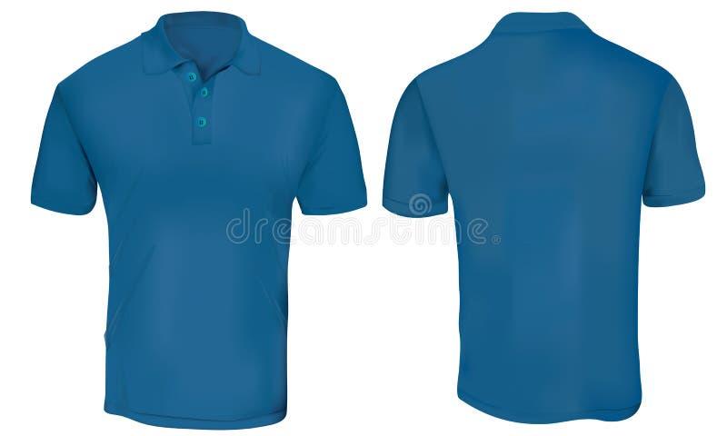 Het blauwe malplaatje van het polooverhemd vector illustratie