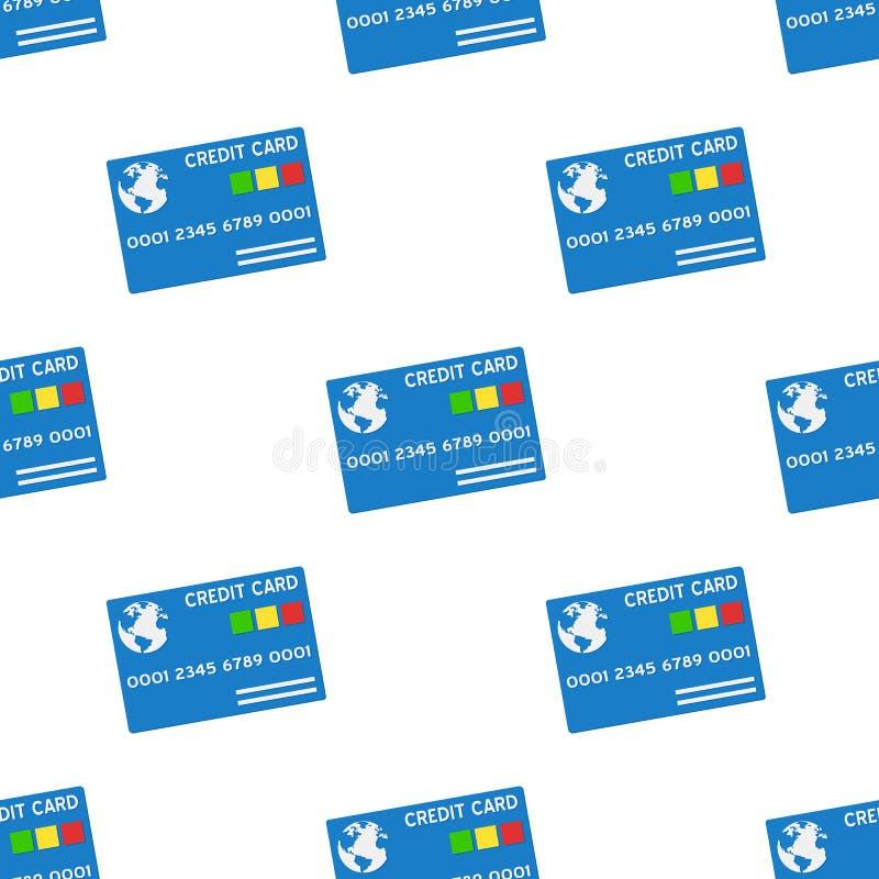 Het blauwe Naadloze Patroon van het Creditcardpictogram stock illustratie