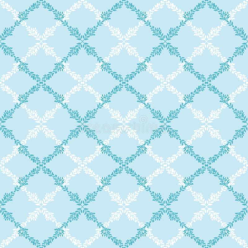 Het blauwe naadloze patroon van de bladeren abstracte diamant stock illustratie