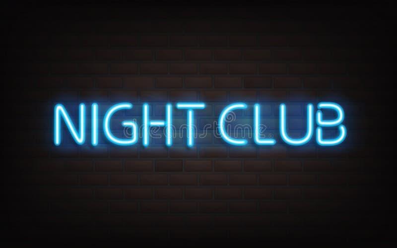Het blauwe het neon van de nachtclub van letters voorzien op donkere bakstenen muur royalty-vrije illustratie