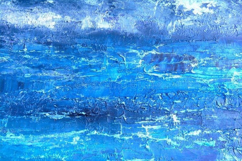 Het blauwe olieverfschilderij, sluit omhoog Het olieachtige schilderen op canvas Het olieachtige schilderen op canvas fragment He royalty-vrije stock fotografie