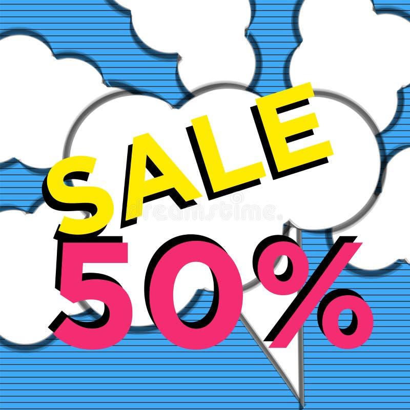 Het blauwe ontwerp van het de bannermalplaatje van de beeldverhaal50% Verkoop Grote verkoopspeciale aanbieding Speciale aanbiedin vector illustratie