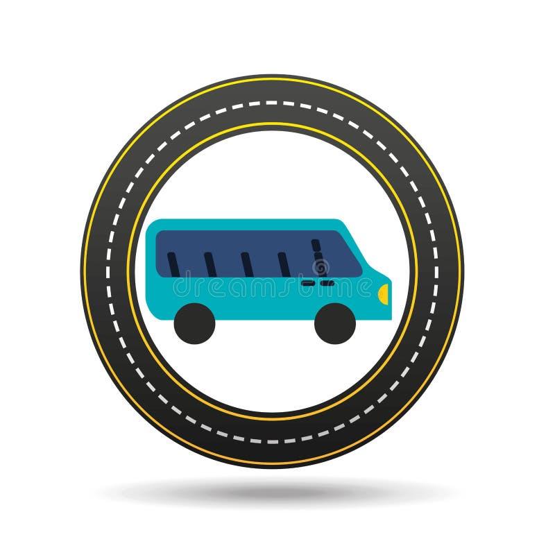 Het blauwe ontwerp van de de wegmanier van de buscirkel stock illustratie