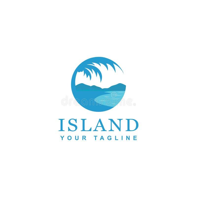 Het blauwe ontwerp van het eilandembleem, de cirkelthema van het ontwerpstrand vector illustratie