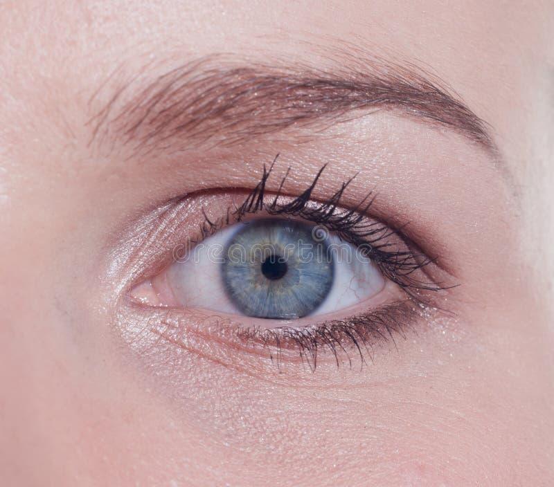 Het blauwe oog van de vrouw royalty-vrije stock foto