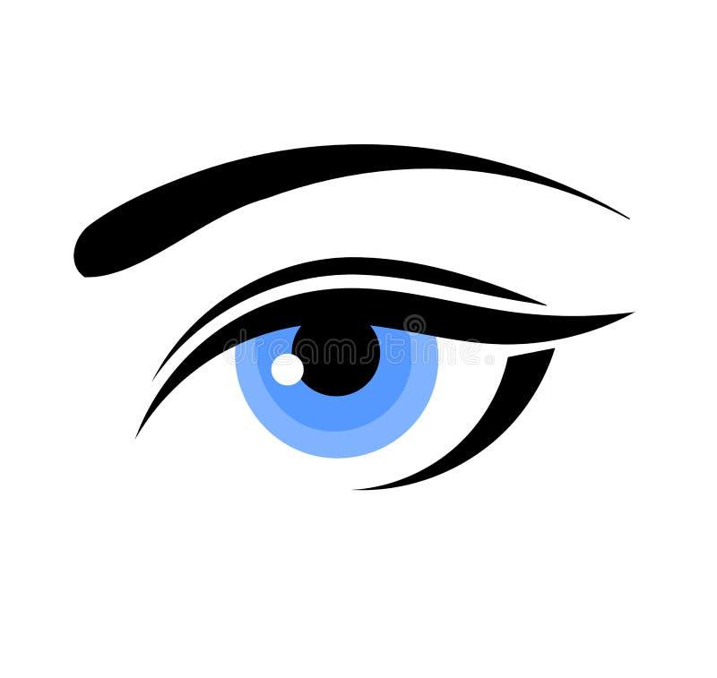 Het blauwe oog van de vrouw royalty-vrije illustratie