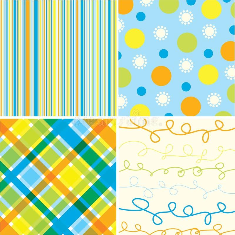 Het blauwe oranje patroon van het strand royalty-vrije illustratie