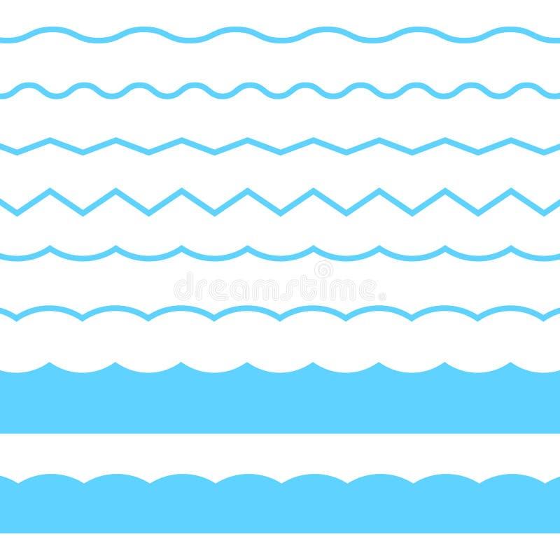 Het blauwe ornament van de lijngolf Vector blauwe die golfpictogrammen op witte achtergrond worden geplaatst Naadloze vector mari stock illustratie