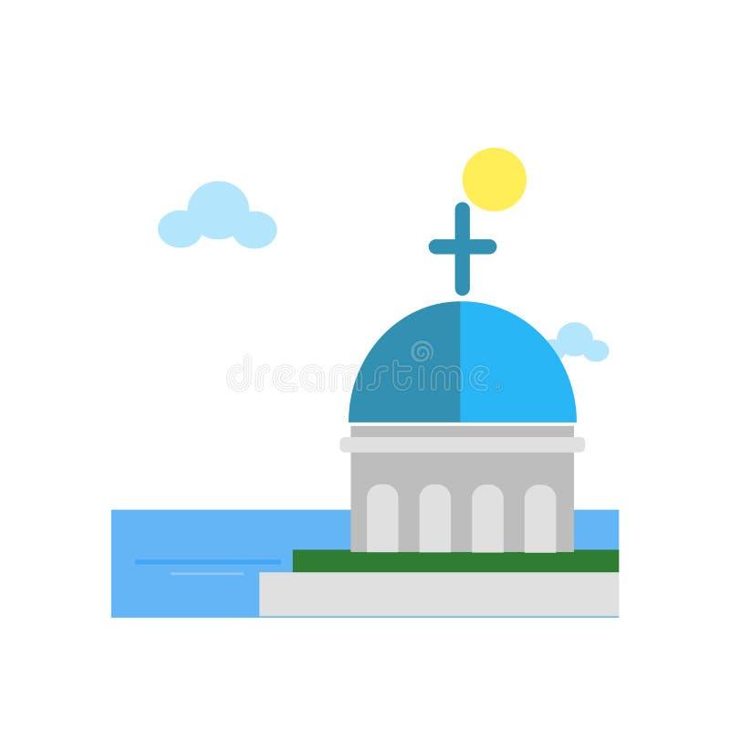 Het blauwe overkoepelde vectordieteken en het symbool van het kerkpictogram op wit wordt geïsoleerd stock illustratie