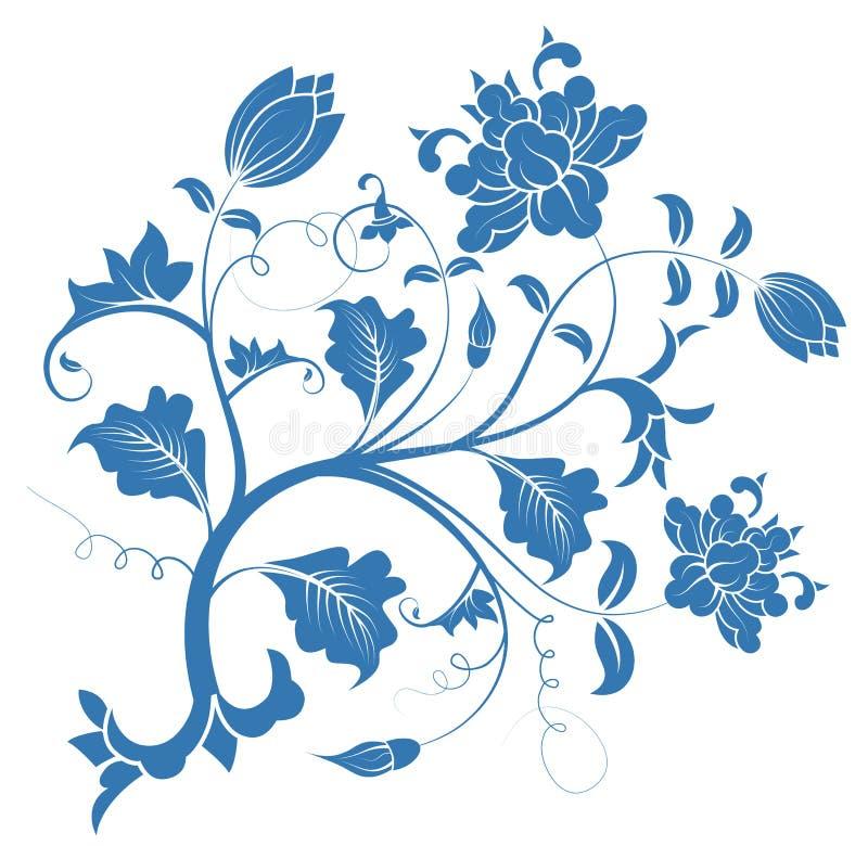 Het blauwe patroon van de pioenbloem royalty-vrije illustratie