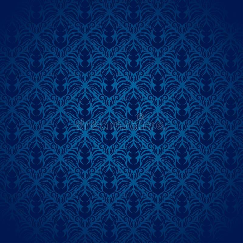 Het blauwe Patroon van het Damast royalty-vrije stock afbeeldingen