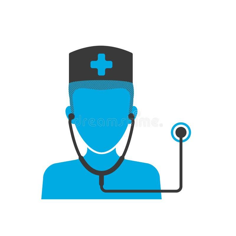 Het blauwe pictogram van de arts stock illustratie